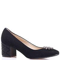 Замшевые черные туфли Ilasio Renzoni с декором из камней, фото