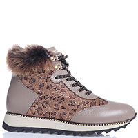 Бежевые ботинки Lab Milano с декором из страз и меха, фото