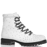 Ботинки Bruno Premi из белой кожи на шнуровке и молнии, фото