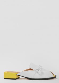 Белые мюли Helena Soretti с декором-бусинами, фото