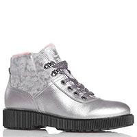 Серебристые ботинки Tine's из комбинации кожи и замши, фото