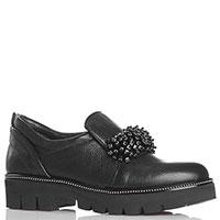 Туфли на рельефной подошве Luigi Sgariglia из черной зернистой кожи с декором из бисера, фото