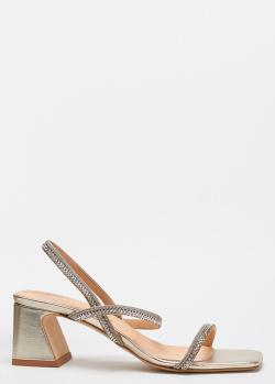 Золотистые босоножки Chantal с декором-камнями, фото