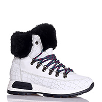Белые ботинки NoClaim из кожи с тиснением кроко, фото