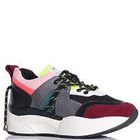 Разноцветные кроссовки SixtySeven с декором-шнурками на заднике, фото