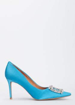 Голубые туфли-лодочки Bibi Lou с крупным декором, фото