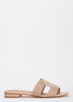 Золотистые шлепанцы Bibi Lou на низком каблуке, фото