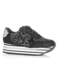 Черные кроссовки Cafe Noir с вышивкой на атласной шнуровке, фото