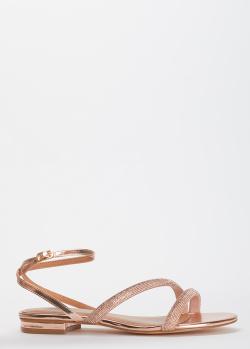Золотистые сандалии Bibi Lou с декором из страз, фото