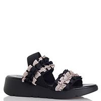 Черные сандалии Nr Rapisardi с декором-рюшами, фото