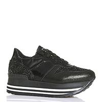 Черные кроссовки NoClaim на толстой подошве с белыми полосами, фото
