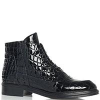 Ботинки Loriblu с тиснением под рептилию черного цвета, фото