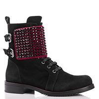 Черные ботинки Loriblu с красной бархатной вставкой, фото
