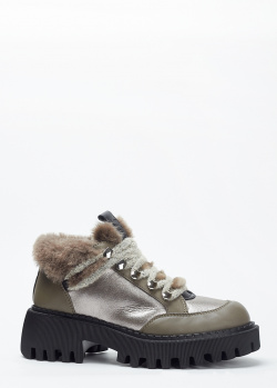 Коричневые ботинки Loriblu с серебристыми вставками, фото