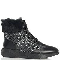 Черные ботинки Loriblu с декором мехом, фото