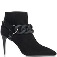 Ботинки Loriblu из черной замши с декором, фото