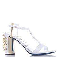 Белые босоножки Loriblu с декором на каблуке, фото