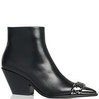 Черные казаки Casadei с металлическим носком, фото