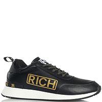 Черные женские кроссовки John Richmond с золотистыми вставками, фото