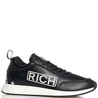 Кроссовки John Richmond из кожи черного цвета, фото