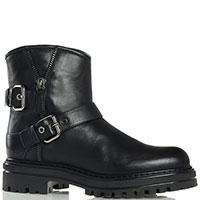 Ботинки Loriblu из черной кожи с декором пряжками и молнией, фото