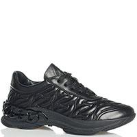 Утепленные кроссовки Casadei из фактурной черной кожи, фото