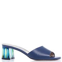 Синие мюли Loriblu на полупрозрачном каблуке, фото