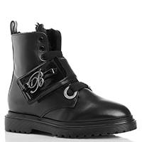 Черные ботинки Blumarine на липучке с бантом, фото
