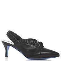 Черные туфли-слингбеки Loriblu с рюшами, фото