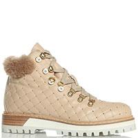 Стеганые ботинки Le Silla из бежевой кожи, фото