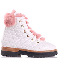 Стеганные ботинки Eddy Daniele белого цвета, фото