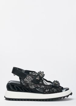 Черные сандалии Le Silla с кружевом, фото