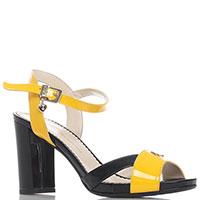 Лаковые босоножки Ilasio Renzoni черно-желтого цвета, фото