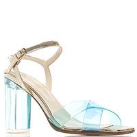 Голубые босоножки Fiorangelo на прозрачном каблуке, фото
