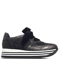 Черные кроссовки Nila&Nila на бархатной шнуровке, фото