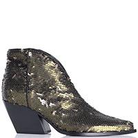 Женские ботинки Elena Iachi в зеленых пайетках, фото