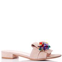 Бежевые шлепанцы Eddicuomo с декором на носке, фото