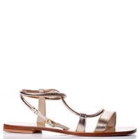 Золотистые сандалии Eddicuomo с квадратными носками, фото