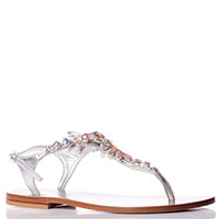 Серебристые сандалии Eddicuomo с декором-камнями, фото