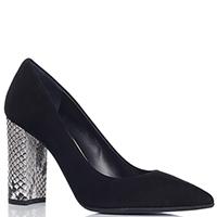 Черные туфли Chantal со змеиным принтом на каблуке, фото