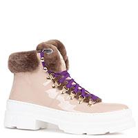 Бежевые лакированные ботинки Stokton на меху, фото
