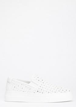 Перфорированные слипоны Stokton из белой кожи, фото
