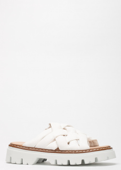 Белые шлепанцы Fru.It из кожи с плетением, фото