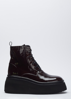 Бордовые лаковые ботинки Fru.It на массивной подошве, фото