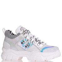 Белые кроссовки Meline с серебристым декором, фото