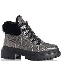 Стеганые ботинки Stokton серые с отливом, фото