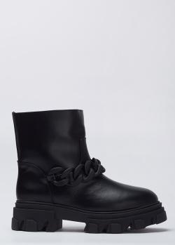 Кожаные черные ботинки Stokton с цепью, фото
