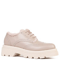Женские туфли-броги на меху Voile Blanche Cley бежевого цвета, фото