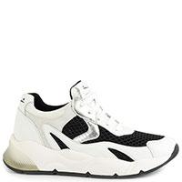 Черно-белые кроссовки Voile Blanche из кожи и текстиля, фото