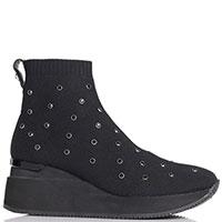 Текстильные ботинки Apepazza Sport с черными стразами, фото